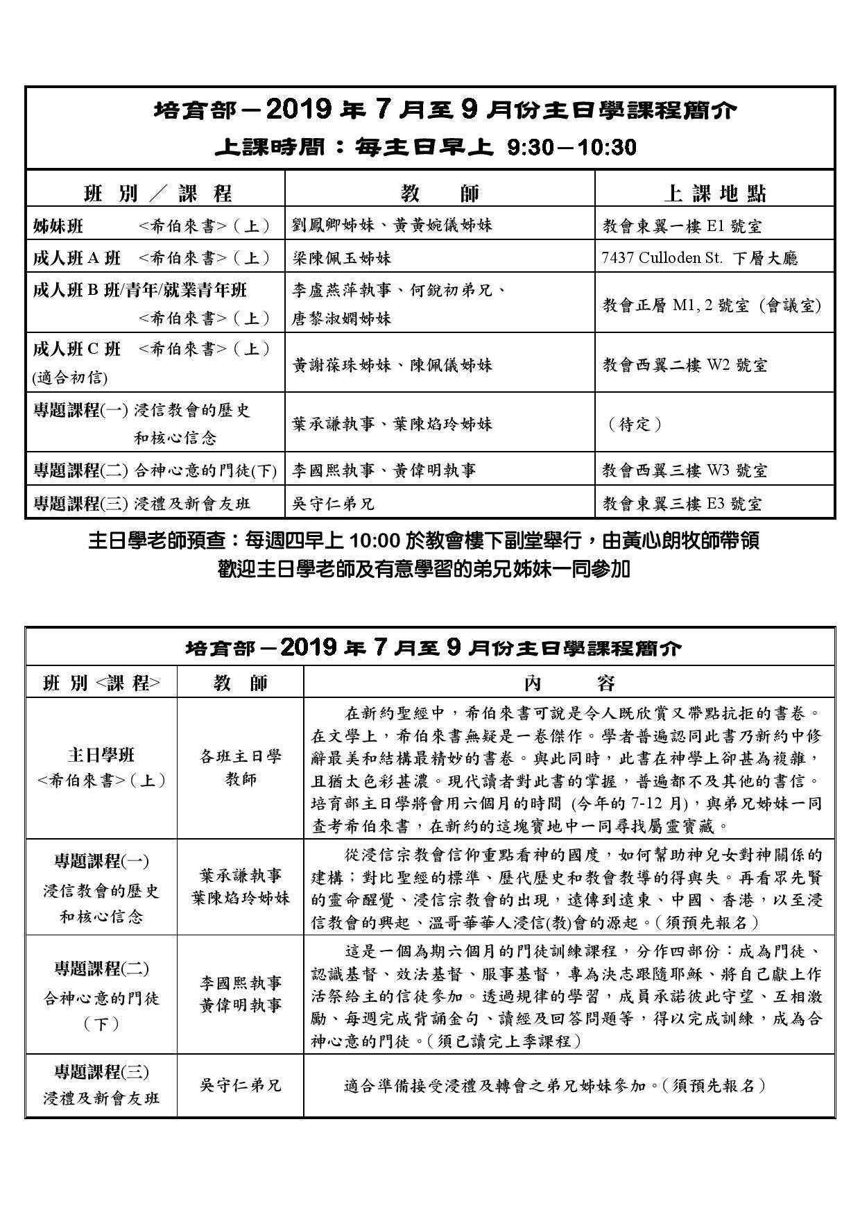 培育部-2019年7月至9月份主日學課程簡介